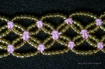Bracelet made from waxed cotton cord & size 8/0 seed beads